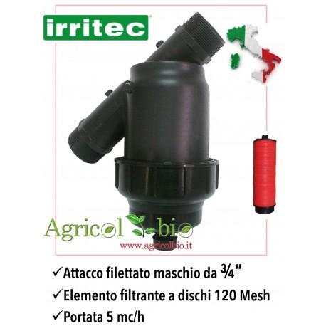 """Filtro a Y da 3/4"""" - 5 mc/h - elemento filtrante a DISCHI 120 mesh - IRRITEC"""