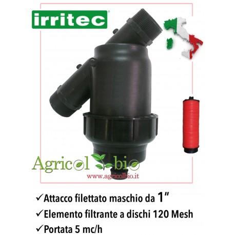 """Filtro a Y da 1"""" - 5 mc/h - elemento filtrante in rete a DISCHI 120 mesh - IRRITEC"""