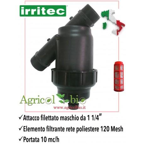 """Filtro a Y da 1"""" 1/4 - 10 mc/h - elemento filtrante in rete POLIESTERE 120 mesh - IRRITEC"""
