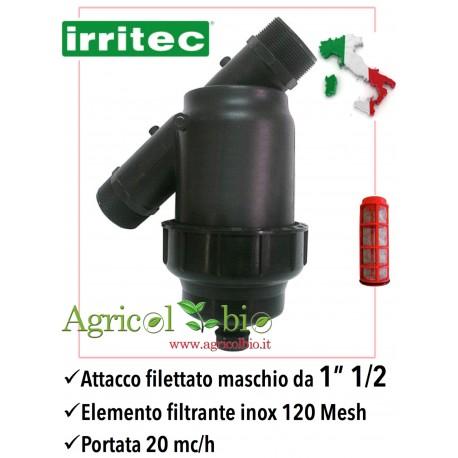 """Filtro a Y da 1"""" 1/2 - 20 mc/h - elemento filtrante in rete POLIESTERE 120 mesh - IRRITEC"""