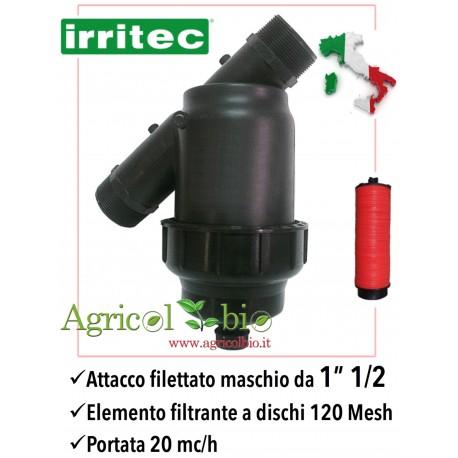 """Filtro a Y da 1"""" 1/2 - 20 mc/h - elemento filtrante a DISCHI 120 mesh - IRRITEC"""