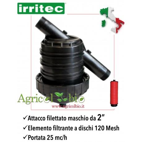 """Filtro a Y da 2"""" - 25 mc/h - elemento filtrante a DISCHI 120 mesh - IRRITEC"""