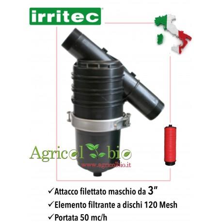 """Filtro a Y da 3"""" - 50 mc/h chiusura fascia inox - elemento filtrante a DISCHI 120 mesh - IRRITEC"""