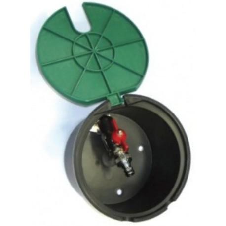 """Pozzetto d'ispezione con valvola in metallo da 3/4"""" Circolare per elettrovalvole coperchio verde - IRRITEC"""