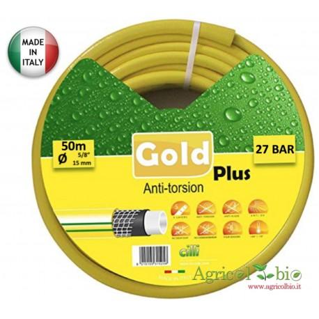 """Tubo giardino Gold Plus Anti Torsion 5/8"""" - 50 Mt - 5 strati di protezione"""