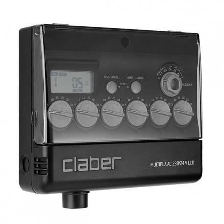 Programmatore multipla LCD AC 230/24 Claber per irrigazione giardino e prato