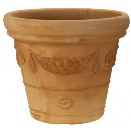 Vaso doppio bordo festone cm 45 color Terracotta