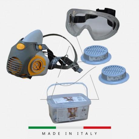 Kit maschera protezione Amianto e polveri - Maschera + Filtri + Occhiali 360°