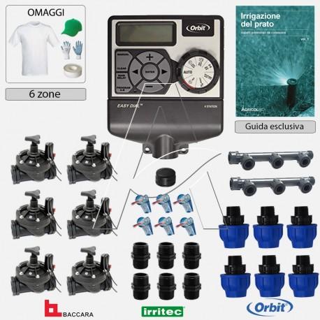 Kit irrigazione Prato Tappeto Erboso completo di elettrovalvole accessori e omaggi | 2 - 4 - 6 zone | HRC50
