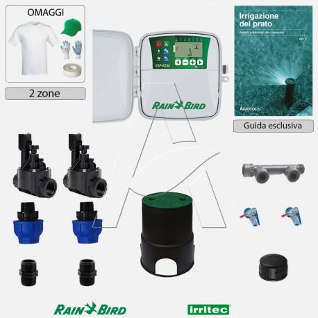 Kit irrigazione Prato Tappeto Erboso completo di elettrovalvole accessori e omaggi | 2 - 4 - 6 - 8 zone | RZXe
