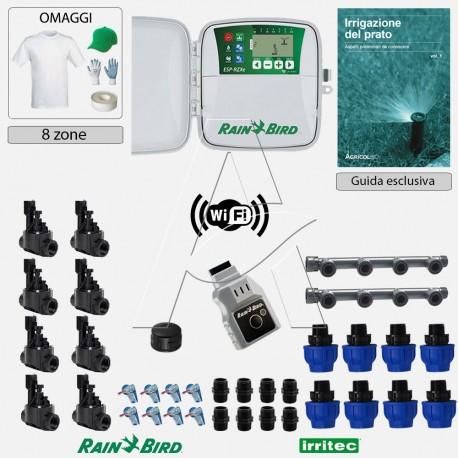 Kit irrigazione Prato Tappeto Erboso completo di elettrovalvole accessori e omaggi | 2 - 4 - 6 - 8 zone | RZXeLNK