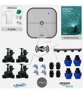Kit irrigazione Prato Tappeto Erboso con elettrovalvole accessori e omaggi |2 - 4 - 6 - 8 zone| Orbit B-Hyve interni