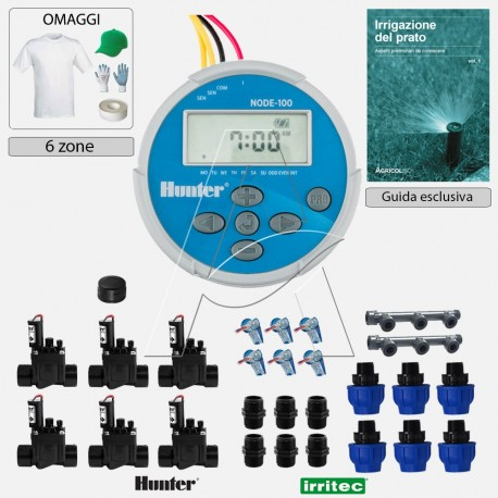 Kit irrigazione Prato Tappeto Erboso completo di elettrovalvole accessori e omaggi | 1 - 2 - 4 - 6 zone | NODE 9 VDC a pile