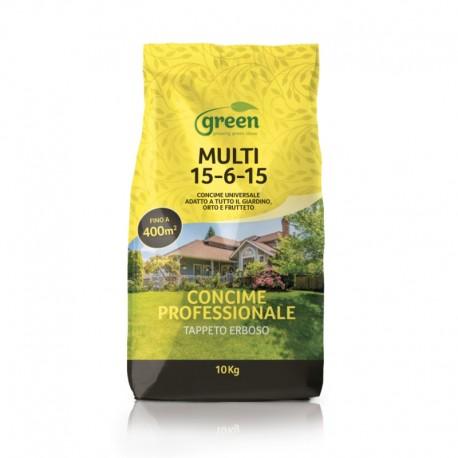 Concime per il mantenimento del Tappeto Erboso e del giardino - MULTI 15.6.15 + SO3 + MgO | Sacco 10 Kg
