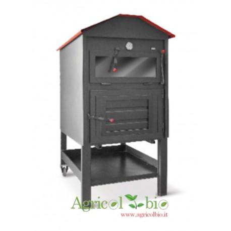 Forno a legna da interno/incasso NERO CASETTA MAXI con bruciatore metallo  71x103x160